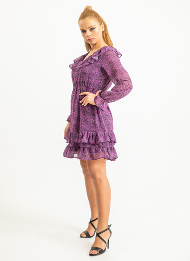 Foremia Yakası Fırfırlı Çıtır Desen Şifon Elbise Pembe